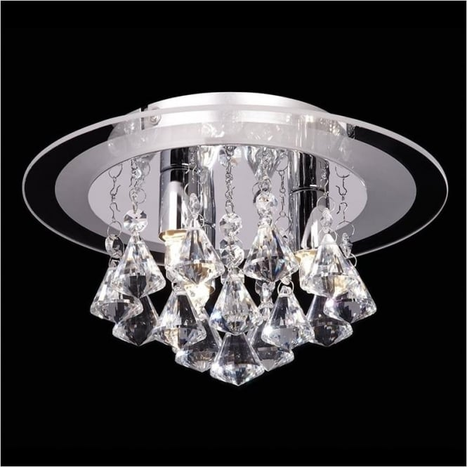Endon RENNER-3CH Renner 3 Light Crystal Ceiling Light Polished Chrome