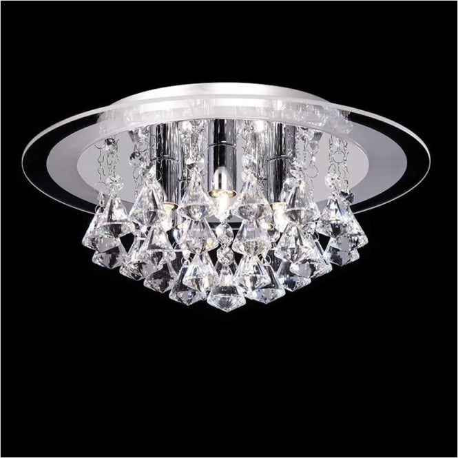 Endon RENNER-5CH Renner 5 Light Crystal Ceiling Light Polished Chrome