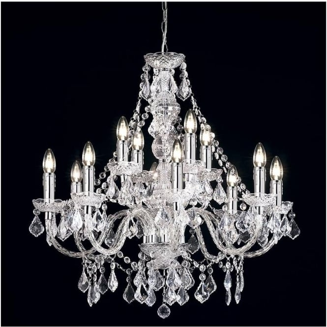 Endon 308-8+4CL Clarence 12 Light Traditional Chandelier Ceiling Pendant Light Clear Acrylic Finish
