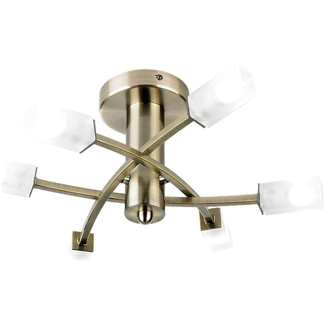 Endon 146-6AB Havana 6 Light Ceiling Light Antique Brass