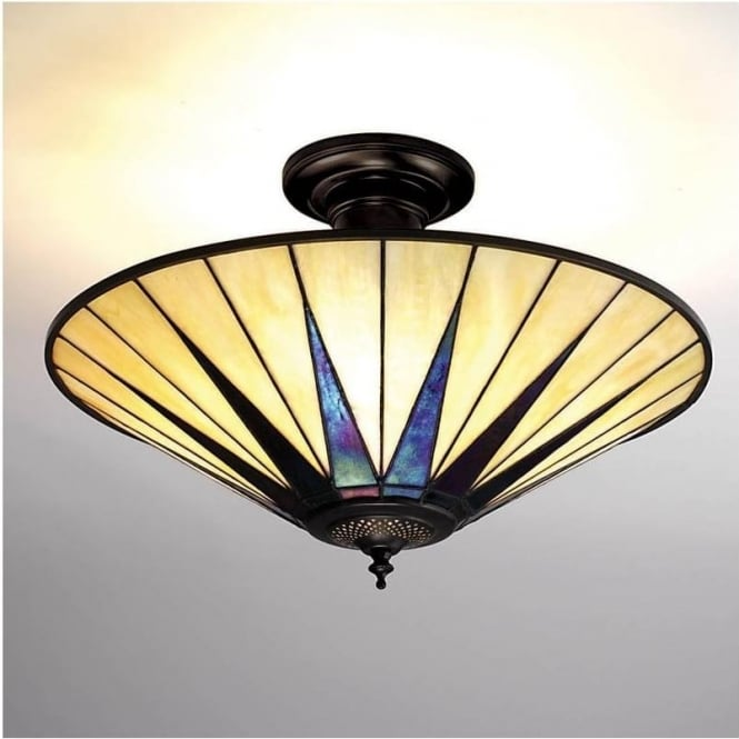 Interiors 1900 64043 Dark Star 3 Light Semi-Flush Tiffany Ceiling Light