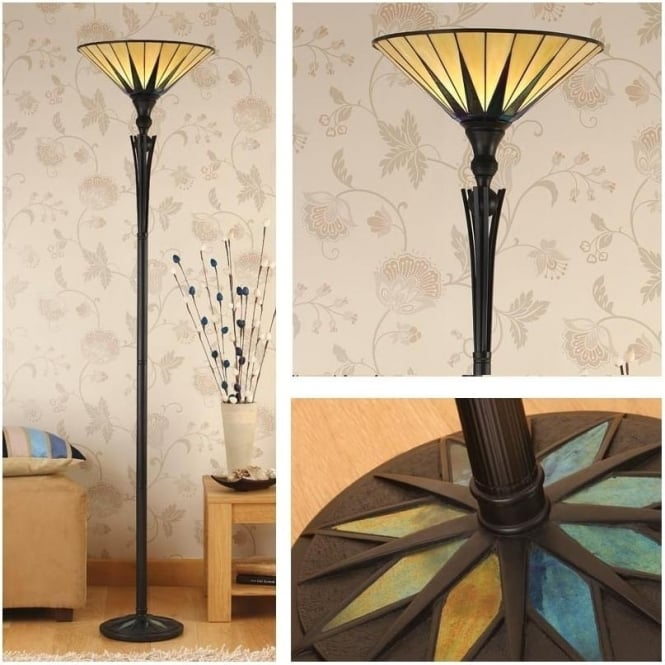Interiors 1900 64042 Dark Star 1 Light Tiffany Uplighter Floor Lamp