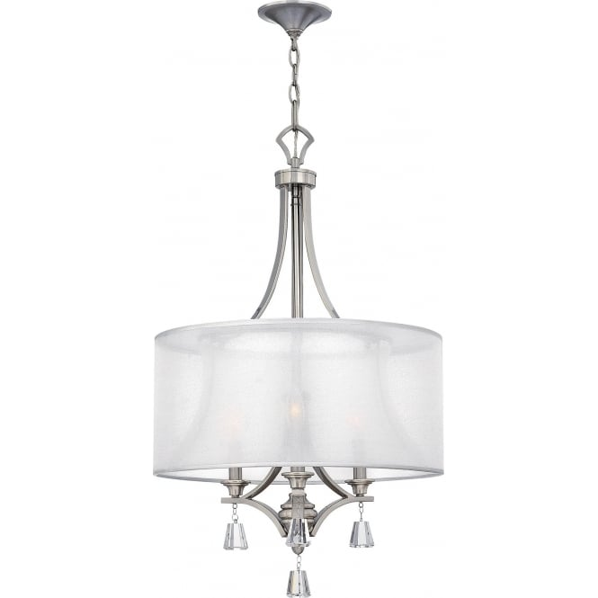 Elstead Hinkley HK/MIME/3P Mime 3 Light Ceiling Pendant Bushed Nickel