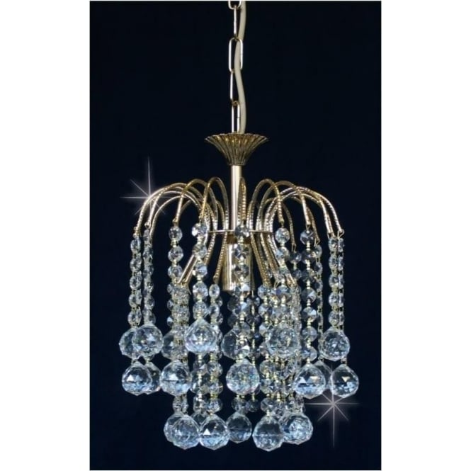 Impex Russell ST01800/20/01/G Shower 1 Light Crystal Pendant Gold