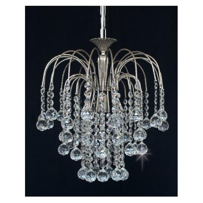 Impex Russell ST01800/35/01/N Shower 1 Light Crystal Pendant Nickel