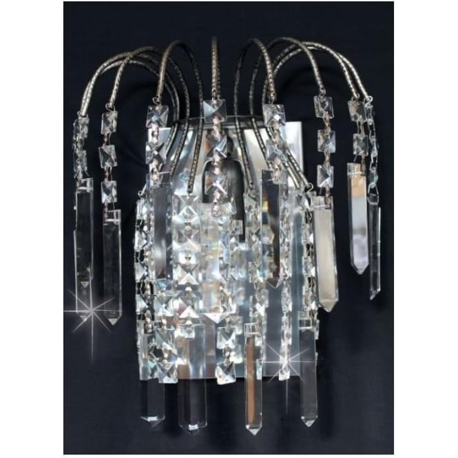 Impex Russell ST01700/WB/AN Shower Coffin 1 Light Crystal Wall Light Antique Nickel