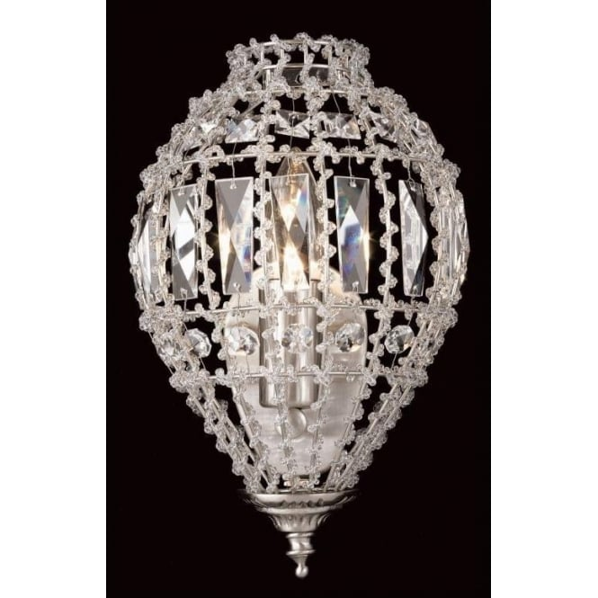 Impex Russell CO01219/WB/C Bombay 1 Light Crystal Wall Light Satin Chrome