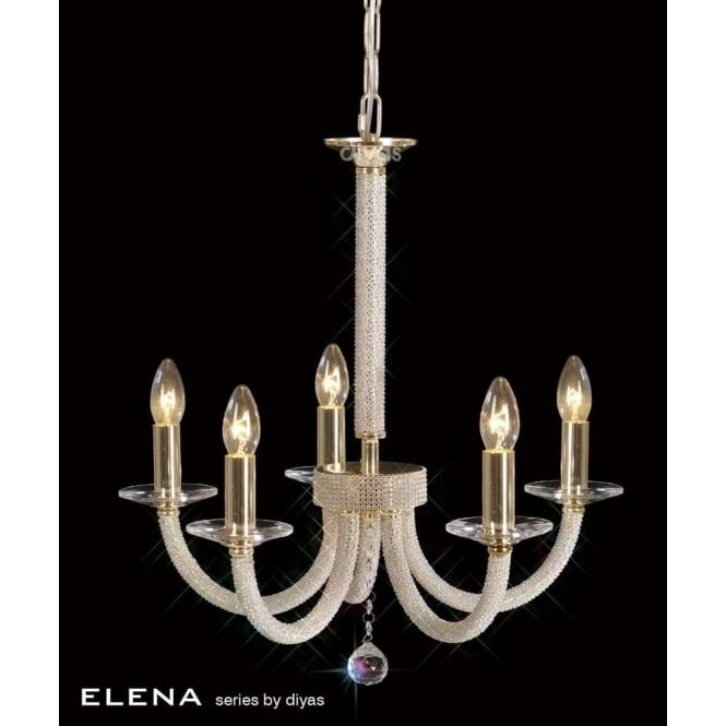Diyas IL30375 Elena 5 Light Crystal Ceiling Light French Gold