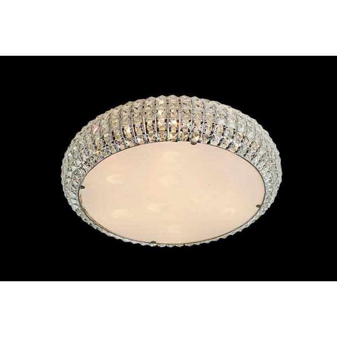 Impex Russell CFH905262/06/PL/CH Rome 6 Light Crystal Flush Ceiling Light Polished Chrome