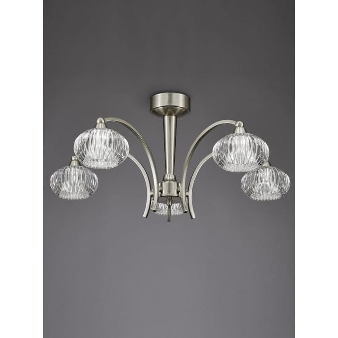 Franklite FL2335/5 Ripple 5 Light Semi-Flush Ceiling Light Satin Nickel