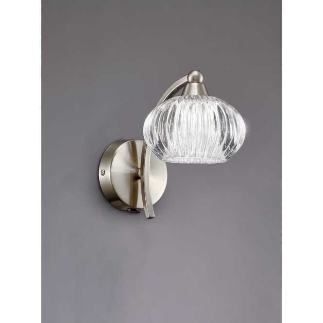 Franklite FL2335/1 Ripple 1 Light Switched Wall Light Satin Nickel