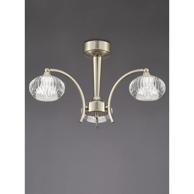 Franklite FL2335/3 Ripple 3 Light Semi-Flush Ceiling Light Satin Nickel