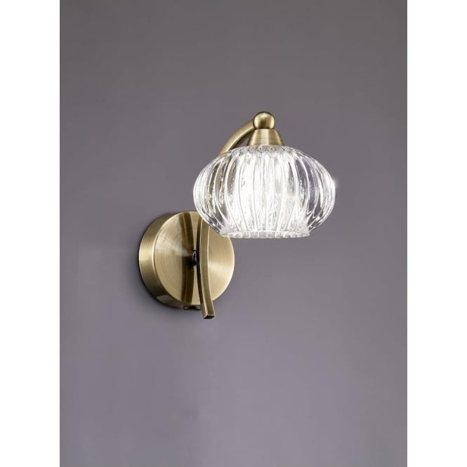 Franklite FL2336/1 Ripple 1 Light Switched Wall Light Bronze
