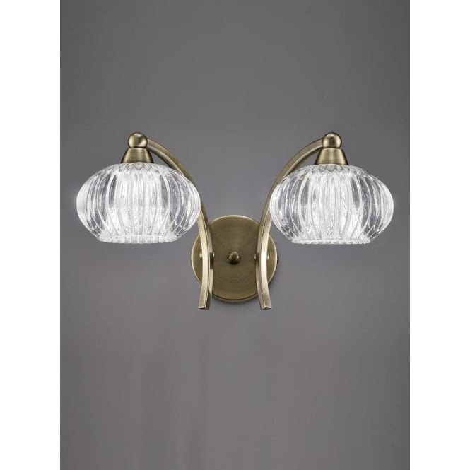 Franklite FL2336/2 Ripple 2 Light Switched Wall Light Bronze