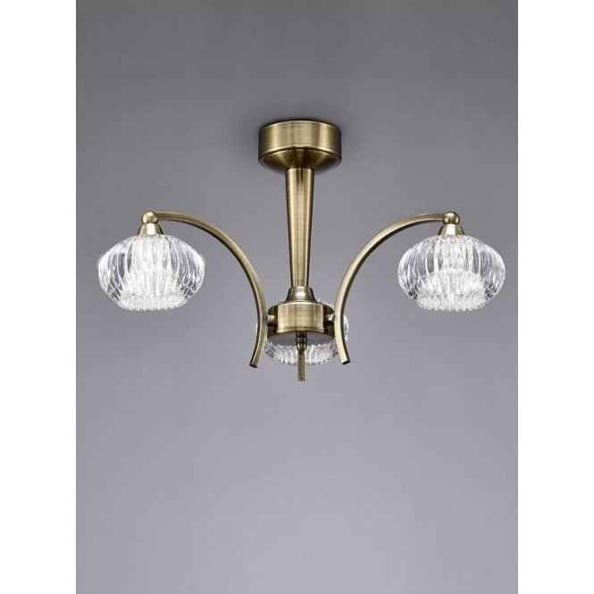 Franklite FL2336/3 Ripple 3 Light Semi-Flush Ceiling Light Bronze