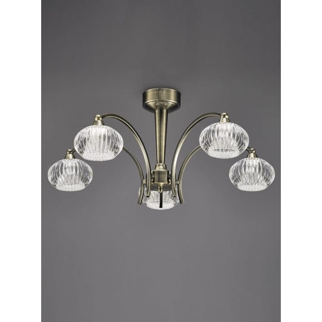 Franklite FL2336/5 Ripple 5 Light Semi-Flush Ceiling Light Bronze