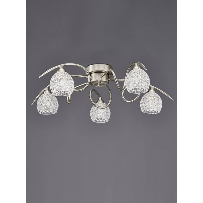 Franklite FL2347/5 Springa 5 Light Semi-Flush Ceiling Light Satin Nickel