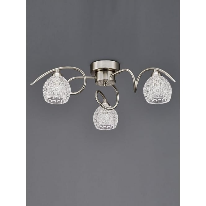 Franklite FL2347/3 Springa 3 Light Semi-Flush Ceiling Light Satin Nickel