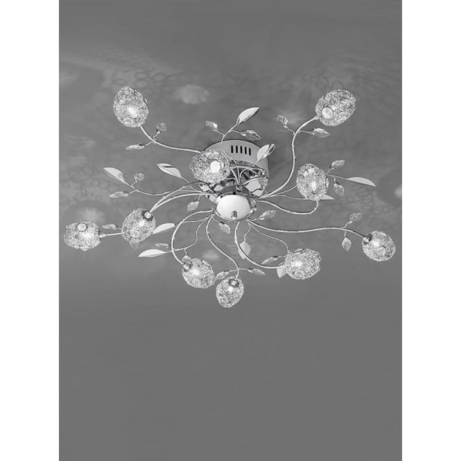 Franklite FL2210/10 Nebula 10 Light Crystal Semi-Flush Ceiling Light Polished Chrome