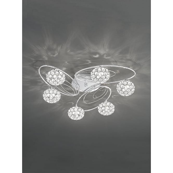 Franklite FL2325/6 Spirelle 6 Light Semi-Flush Ceiling Light Polished Chrome