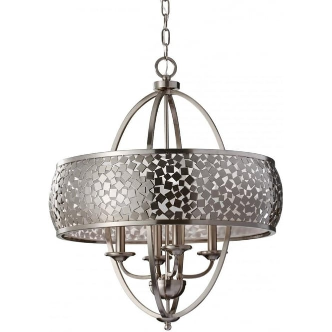 Elstead Feiss FE/ZARA4-L Zara 4 Light Ceiling Pendant Brushed Steel
