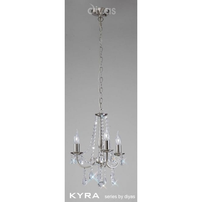 Diyas IL30973 Kyra 3 Light Crystal Ceiling Light Satin Nickel