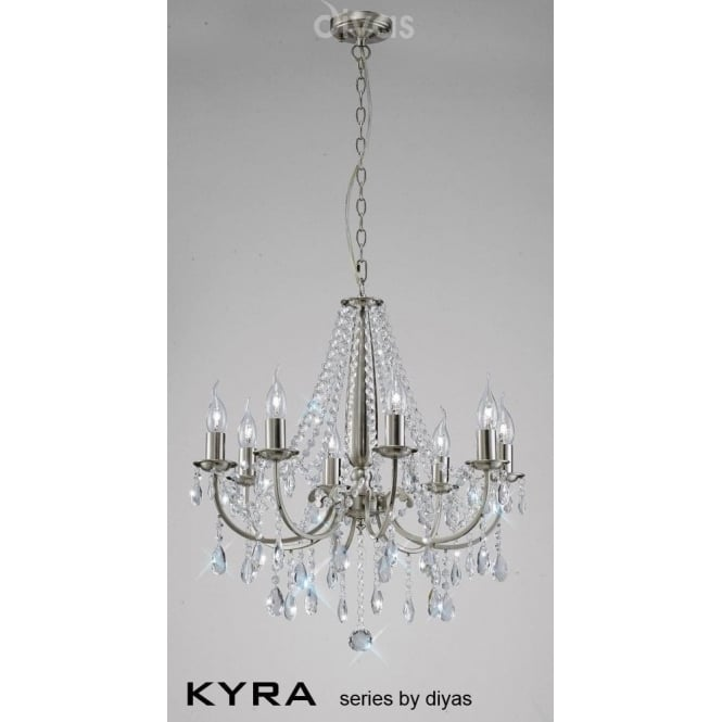 Diyas IL30978 Kyra 8 Light Crystal Ceiling Light Satin Nickel