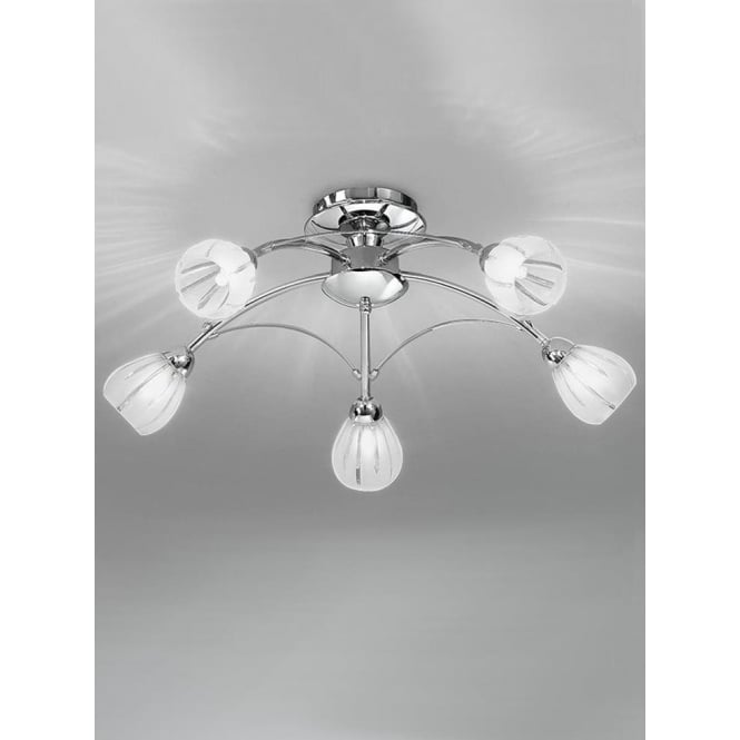 Franklite FL2206/5 Chloris 5 Light Semi-flush Ceiling Light Chrome