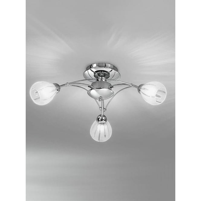 Franklite FL2206/3 Chloris 3 Light Semi-flush Ceiling Light Chrome