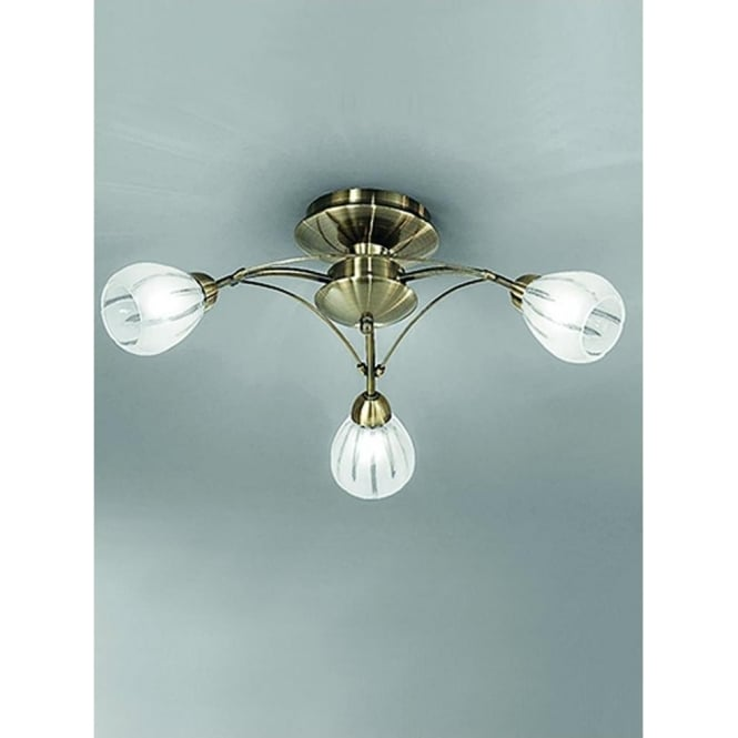 Franklite FL2207/3 Chloris 3 Light Semi-flush Ceiling Light Bronze