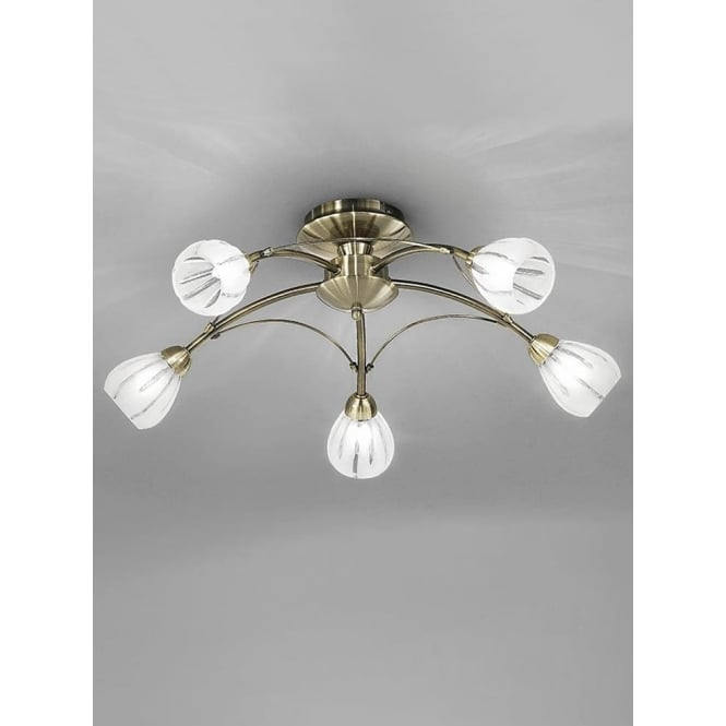 Franklite FL2207/5 Chloris 5 Light Semi-flush Ceiling Light Bronze