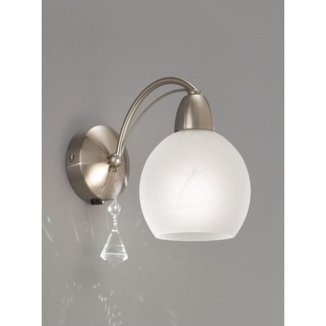 Franklite FL2277/1 Thea 1 Light Switched Wall Light Satin Nickel