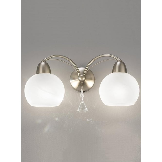 Franklite FL2277/2 Thea 2 Light Switched Wall Light Satin Nickel
