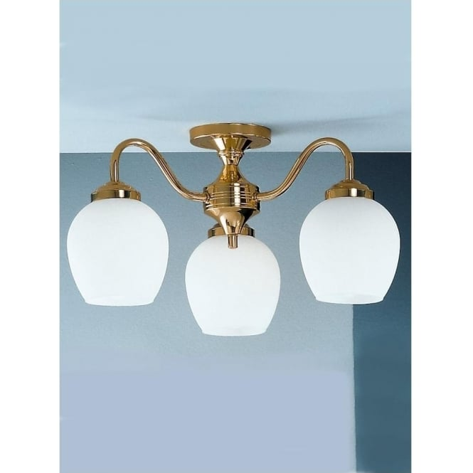 Franklite CO3709/715 Alba 3 Light Ceiling Light Polished Brass