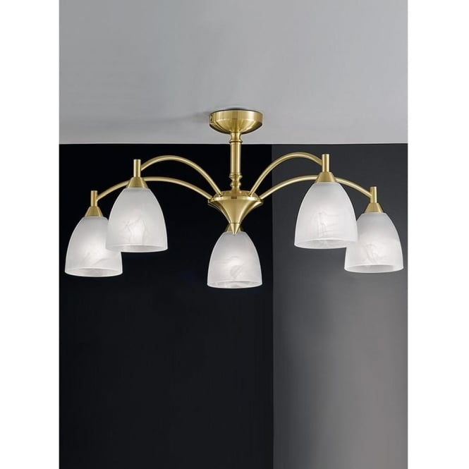 Franklite FL2200/5 Emmy 5 Light Ceiling Light Satin Brass
