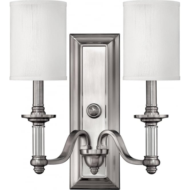 Elstead Hinkley HK/SUSSEX2 Sussex 2 Light Wall Light Brushed Nickel