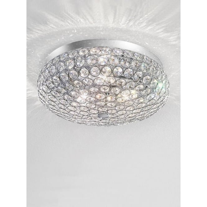 Franklite FL2275/3 Marquesa 3 Light Crystal Flush Ceiling Light Polished Chrome