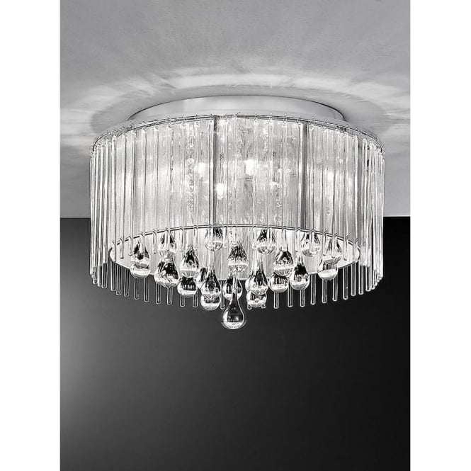 Franklite FL2160/6 Spirit 6 Light Crystal Ceiling Light Polished Chrome