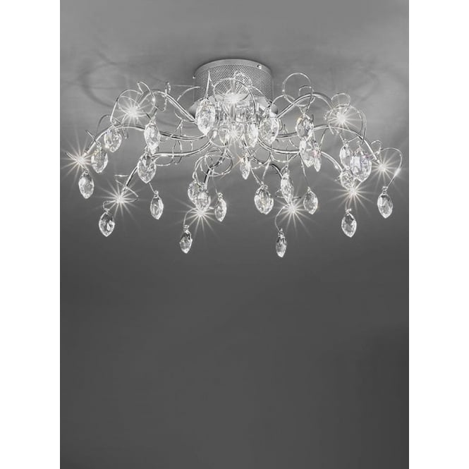 Franklite FL2234/10 Chantilly 10 Light Ceiling Light Polished Chrome