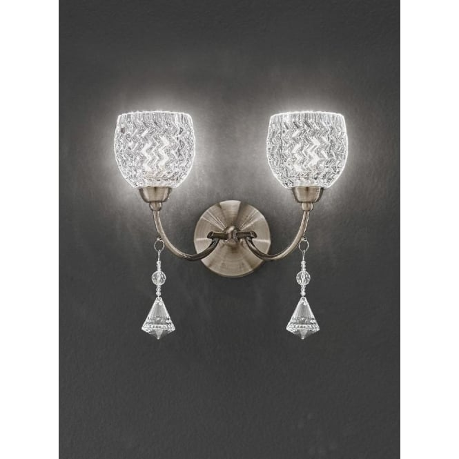 Franklite FL2293/2 Sherrie 2 Light Crystal Switched Wall Light Bronze