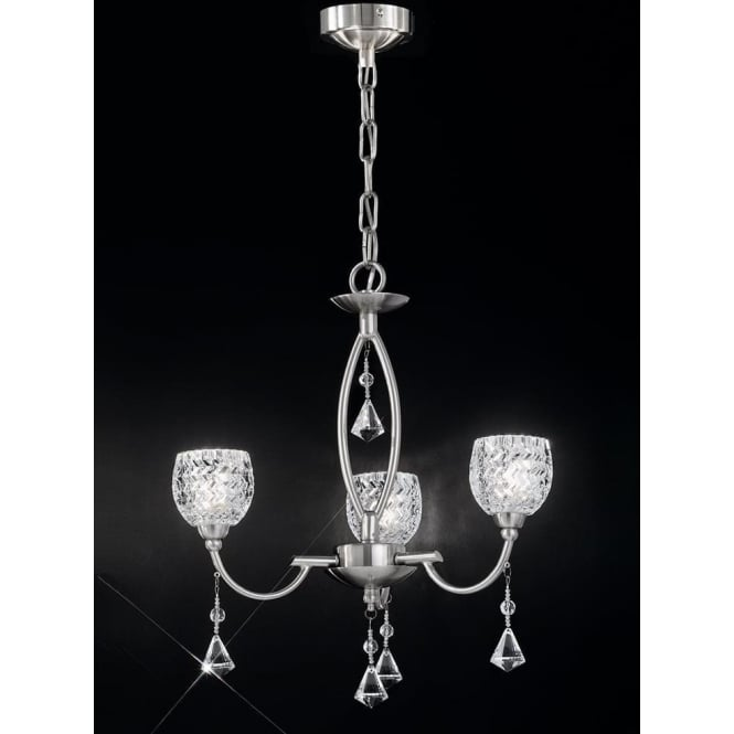 Franklite FL2292/3 Sherrie 3 Light Crystal Ceiling Light Satin Nickel