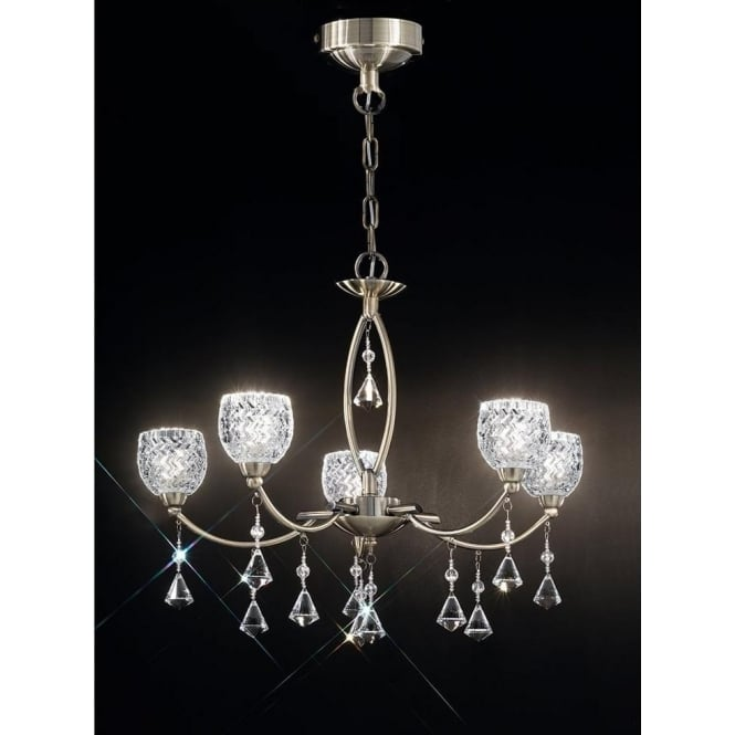 Franklite FL2293/5 Sherrie 5 Light Crystal Ceiling Light Bronze