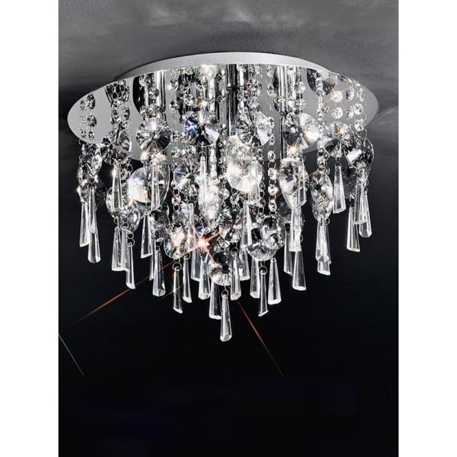 Franklite CF5716 Jazzy 4 Light Crystal Semi-flush Ceiling Light Polished Chrome