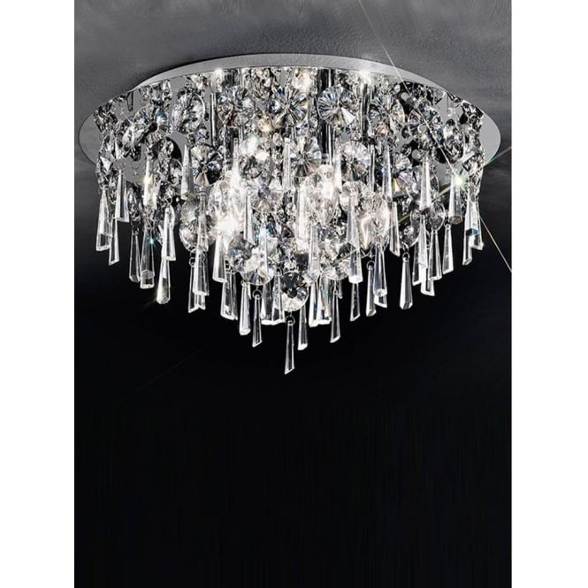Franklite CF5717 Jazzy 5 Light Crystal Semi-flush Ceiling Light Polished Chrome