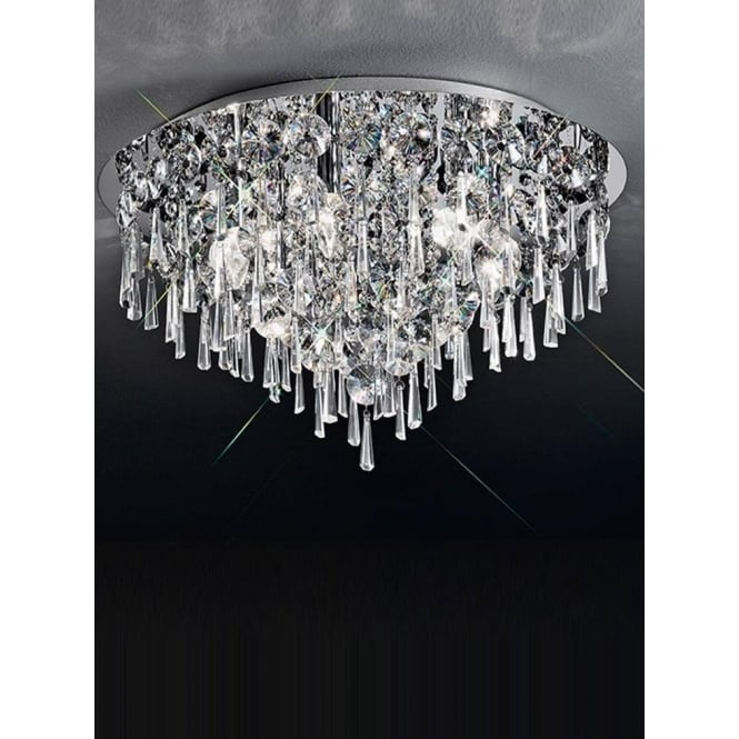 Franklite CF5718 Jazzy 6 Light Crystal Semi-flush Ceiling Light Polished Chrome