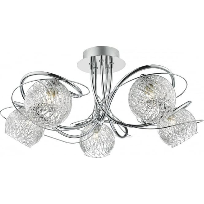 Dar REH0550 Rehan 5 Light Semi-Flush Ceiling Light Polished Chrome