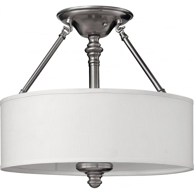 Elstead Hinkley HK/SUSSEX/SF Sussex 3 Light Ceiling Light Brushed Nickel
