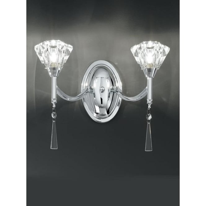 Franklite FL2237/2 Desian 2 Light Crystal Wall Light Polished Chrome