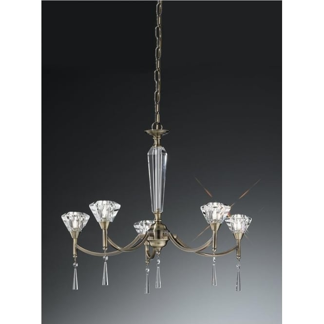 Franklite FL2238/5 Desian 5 Light Crystal Ceiling Light Bronze