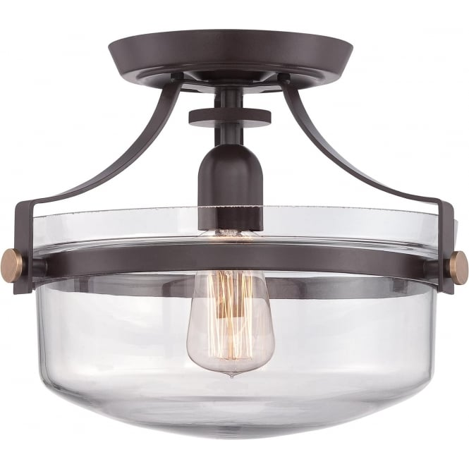 Elstead Quoizel QZ/PENNSTAT/F/WT Penn Station 1 Light Ceiling Light Western Bronze